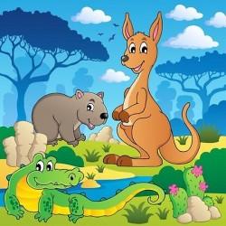 Papier peint enfant géant Kangourou Crocodile 3681