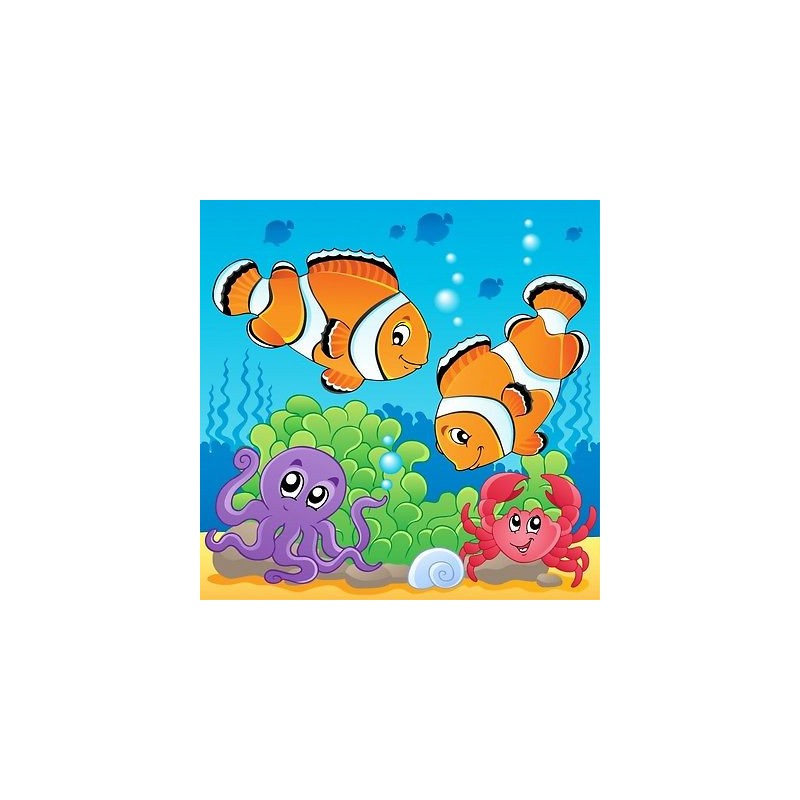 papier peint enfant g ant poissons tropicaux 3675 stickers muraux enfant. Black Bedroom Furniture Sets. Home Design Ideas