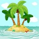 Papier peint enfant géant palmiers Ile 3671