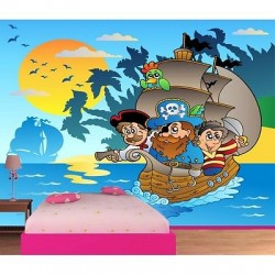 Papier peint enfant géant Pirates bateau 604