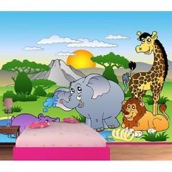 Papier peint enfant géant Animaux de la jungle 605