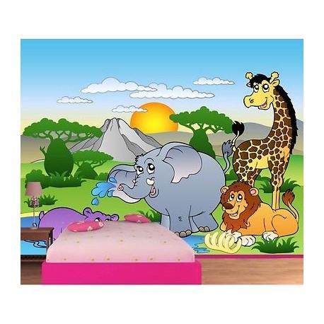 papier peint enfant g ant animaux de la jungle 605 stickers muraux enfant. Black Bedroom Furniture Sets. Home Design Ideas
