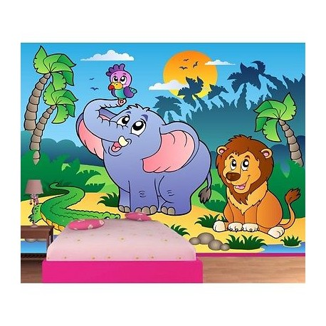 papier peint enfant g ant animaux de la jungle 607 stickers muraux enfant. Black Bedroom Furniture Sets. Home Design Ideas