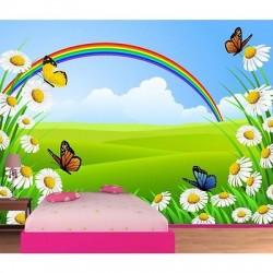 Papier peint enfant géant Papillons fleurs 612