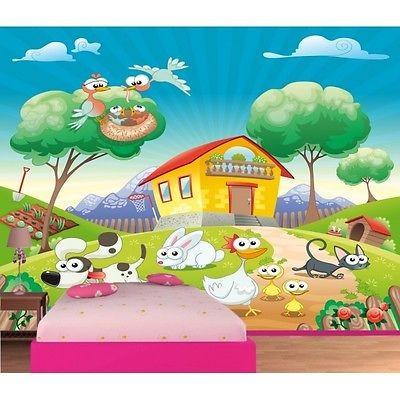 Papier Peint Enfant Geant Animaux De La Ferme 613 Stickers Muraux