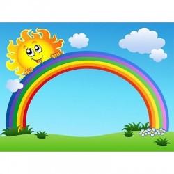 Papier peint enfant géant Soleil Arc en ciel 622