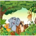 Papier peint enfant géant Animaux jungle 2001
