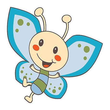 Sticker enfant Papillon bleu réf 3504 (Dimensions de 10 cm à 130cm de hauteur)