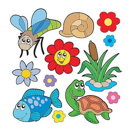 Stickers kit enfant planche de stickers Animaux réf 3686 (12 dimensions)