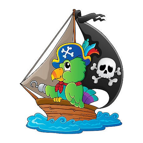 Sticker autocollant enfant Bateau pirate réf 3692
