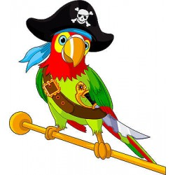 Stickers muraux enfant Perroquet pirate réf 3614