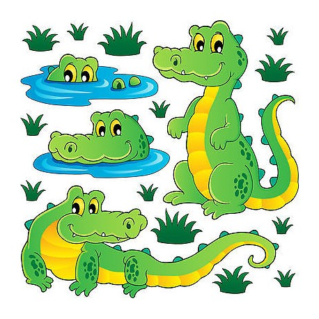 Stickers kit enfant planche de stickers Crocodiles réf 3720 (12 dimensions)