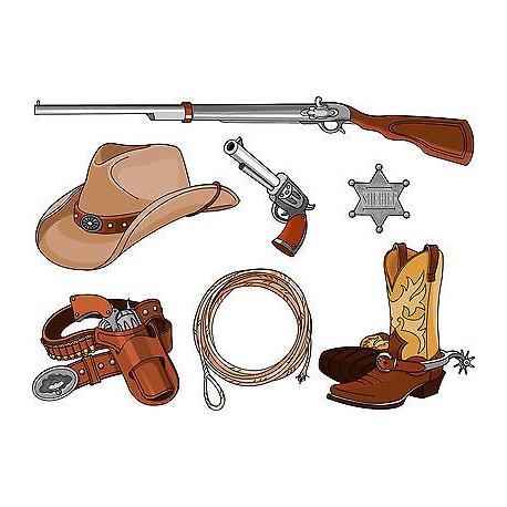 Stickers kit enfant planche de stickers Cowboys ref 3609 (7 dimensions)