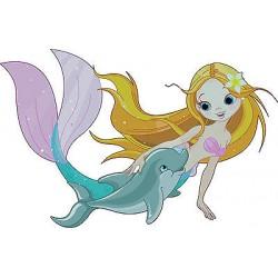 Stickers enfant Sirene dauphin réf 3607