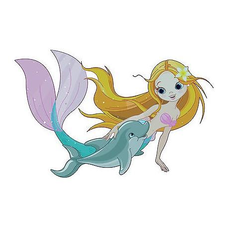 Stickers enfant Sirene dauphin réf 3607 (Dimensions de 10cm à 130cm de largeur)