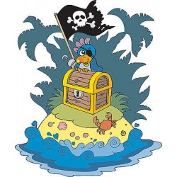 Sticker autocollant enfant Ile pirate réf 3592