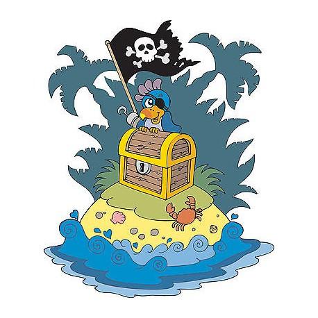 Sticker autocollant enfant Ile pirate réf 3592