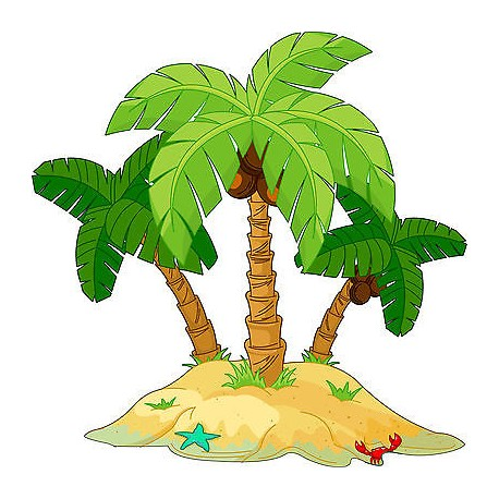 Sticker autocollant enfant Palmier Ile réf 3589