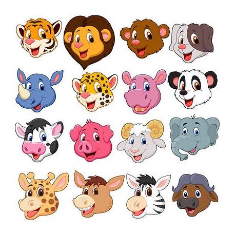 Stickers kit enfant planche de stickers Têtes animaux réf 3595 (12 dimensions)