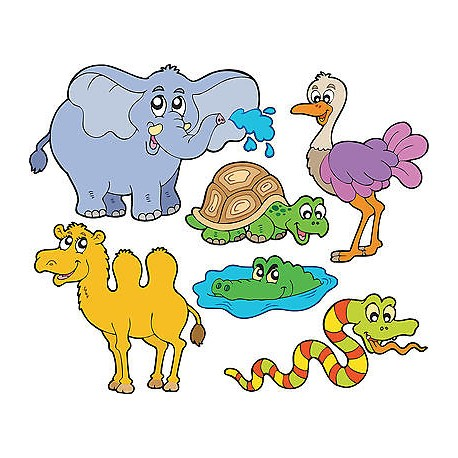 Stickers kit enfant planche de stickers Animaux jungle ref 3603 (7 dimensions)