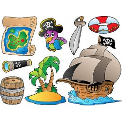 Stickers kit enfant planche de stickers Pirates ref 3587 (7 dimensions)