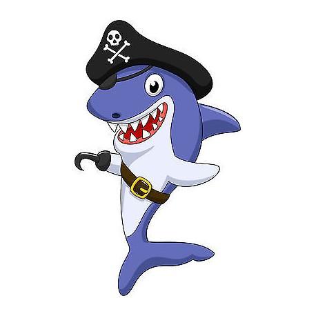 Stickers autocollant muraux enfant Requin pirateréf 3585 (30 dimensions)