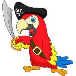 Sticker autocollant enfant Perroquet Pirate réf 3581