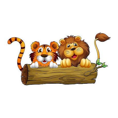 Stickers enfant Lion Tigre réf 3578 (Dimensions de 10 cm à 130cm de largeur)