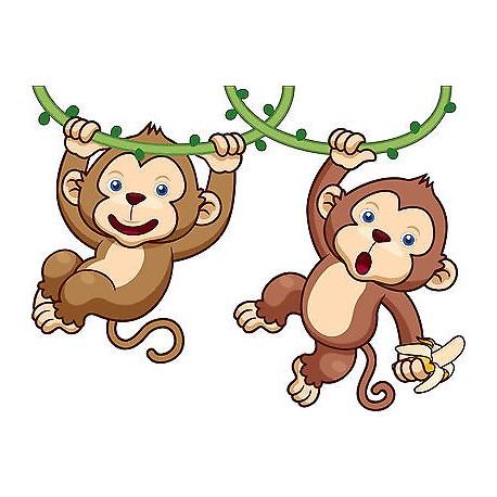 Sticker enfant Bébé Singes réf 3574 (Dimensions de 10 cm à 130 cm de largeur)