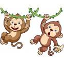 Sticker enfant Bébé Singes réf 3574