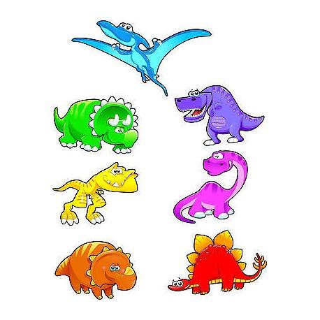 Stickers kit enfant planche de 7 stickers dinosaures ref 3572 (7 dimensions)
