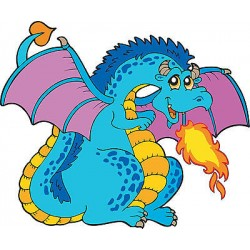 Stickers enfant Dragon réf 3702 (Dimensions de 10cm à 130cm de largeur)