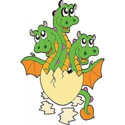 Stickers autocollant muraux enfant Bébé dragon réf 3699 (30 dimensions)