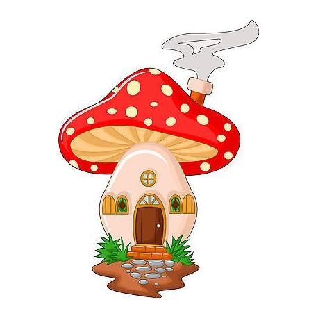 Stickers muraux enfant maison champignon réf 3568 (30 dimensions)