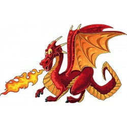 Stickers enfant Dragon feu réf 3709 (Dimensions de 10cm à 130cm de largeur)