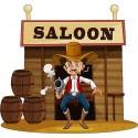 Stickers enfant Saloon Cow-boy réf 3707 (Dimensions de 10cm à 130cm de largeur)