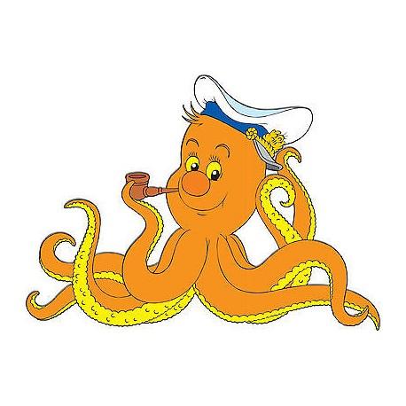 Stickers enfant Pieuvre réf 3701 (Dimensions de 10cm à 130cm de largeur)