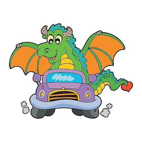 Stickers enfant Dragon voiture réf 3700 (Dimensions de 10cm à 130cm de largeur)