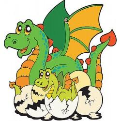 Sticker autocollant enfant Dragon et bébé réf 3655