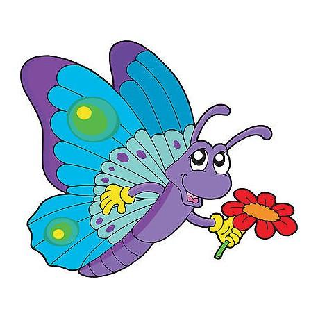 Stickers enfant Papillon fleur réf 3648 (Dimensions de 10cm à 130cm de largeur)