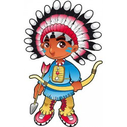 Stickers autocollant muraux enfant Chef Indien réf 3645 (30 dimensions)