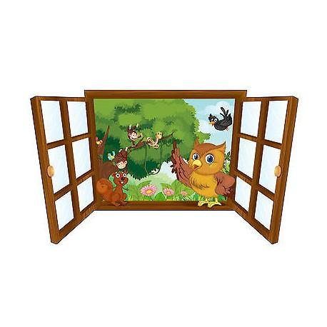 Sticker enfant fenêtre la chouette et ses amis réf 3932