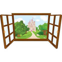 Sticker enfant fenêtre chateau de princesse réf 3931