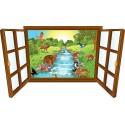 Sticker enfant fenêtre les animaux à la riviere réf 3929