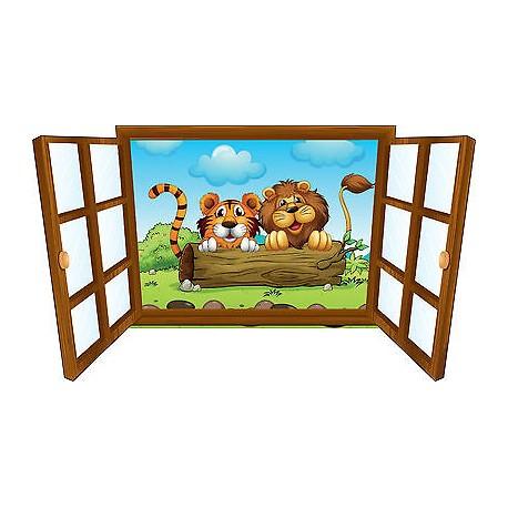 Sticker enfant fenêtre bébé tigre et lion réf 3928