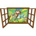 Sticker enfant fenêtre singes et bananes réf 3926