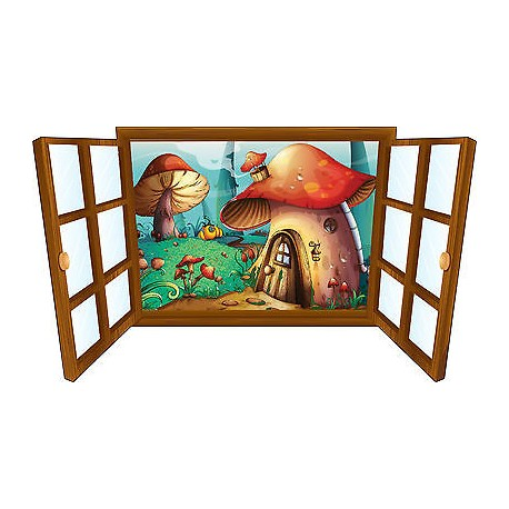 Sticker enfant fenêtre maison champignion réf 3925