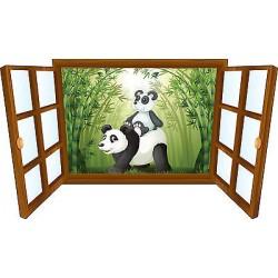 Sticker enfant fenêtre pandas réf 3924