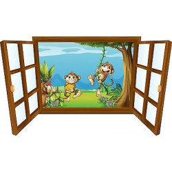 Sticker enfant fenêtre singes rigolos réf 3922