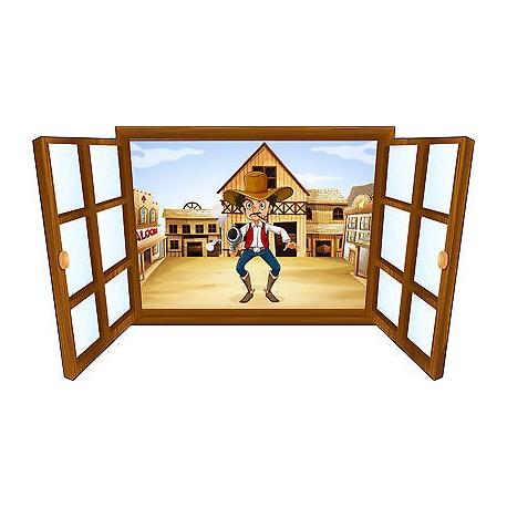 Sticker enfant fenêtre cow boy réf 3921